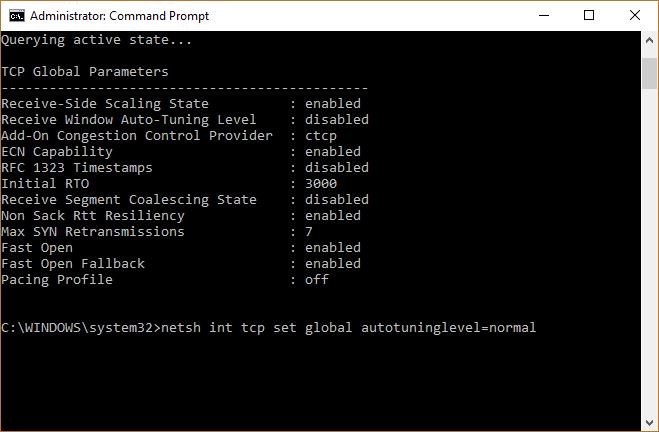 Desactivar el auto-tuning en windows 10 command prompt