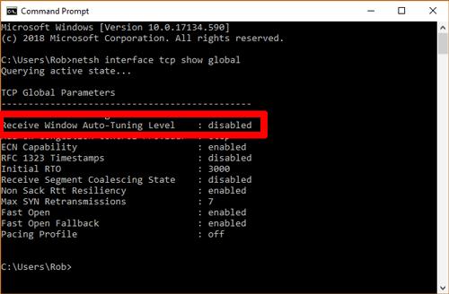 Desactivar el auto-tuning en windows 10